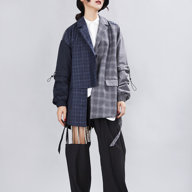 Fashion Nice Autumn Plaid Blazer Coat Female Long Sleeve Patchwork Women Suits Asymmetrical Casual Jacket