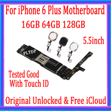 Yüksek kalite, iphone 6 için Unlocked artı anakart/Touch ID olmadan + ücretsiz iCloud, iphone 6 için orijinal anakart