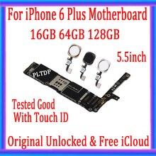고품질, iphone 6 plus 마더 보드 용 잠금 해제/터치 ID 없음 + 무료 iCloud, iphone 6 plus 메인 보드 용 원본
