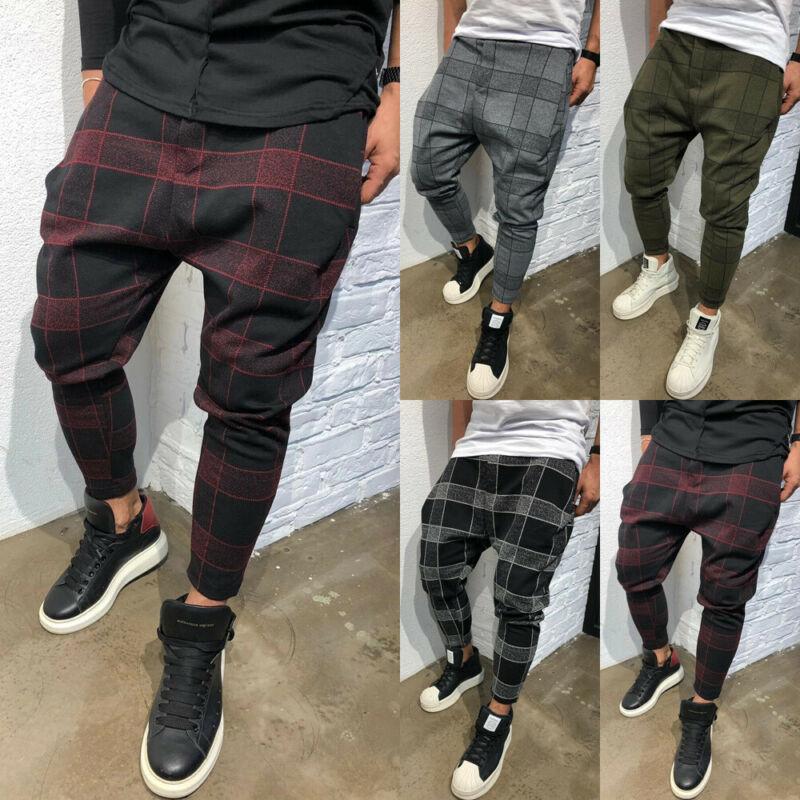 Men's Slim Fit Urban Straight Leg Trousers Casual Pencil Jogger Cargo Pants  Plaid Casual Straight Leg Trousers Pencil Jogger