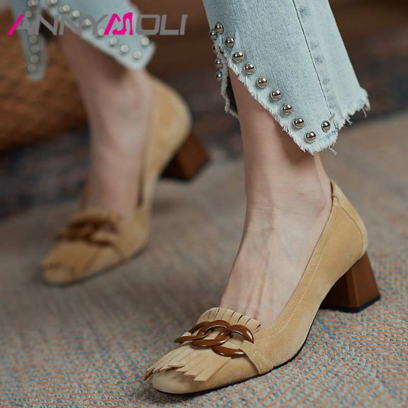 ANNYMOLI Genuine Leather High Heel Shoes Women Chunky Heels Kid Suede Square Toe Pumps Fashion Fringe Ladies Footwear Apricot 40