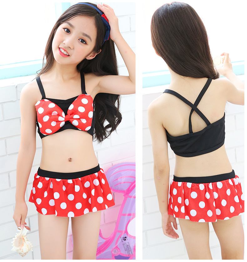 New Style Children Women's Bikini Sweet And Playful Cross Polka Dot Bow Princess Dress-Split Type Swimsuit