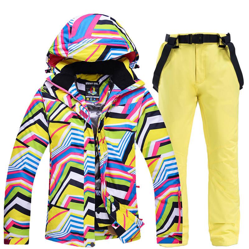 Cheap Zebra Pattern Ski Suit Set Snowboarding Clothing Girls Wear Outdoor Sports Waterproof Windproof Snow Jackets+pants Women