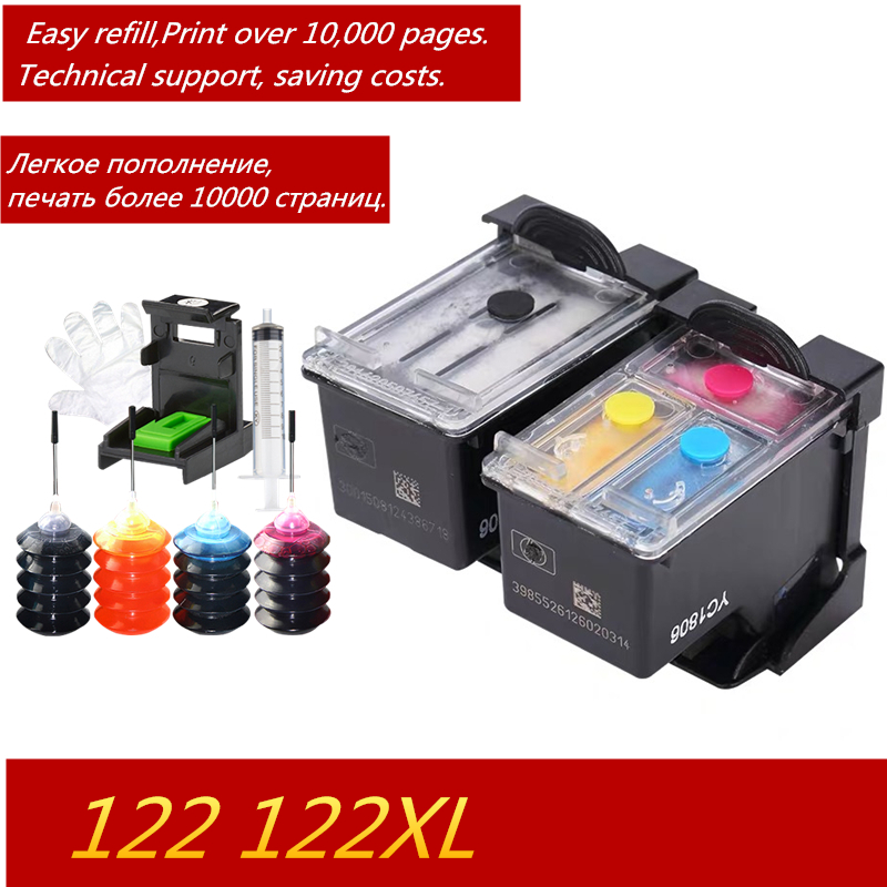 GraceMate <font><b>122</b></font> Cartridge Compatible Refillable Ink Cartridge for <font><b>HP</b></font> Deskjet 1000 1510 1050A 2000 2050 2050A 3000 3050 Printer image