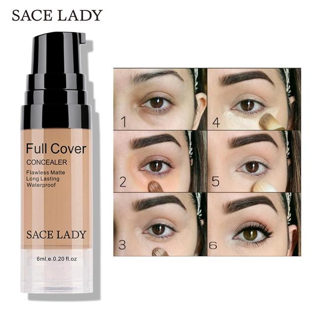 SACE LADY Professional Eye Concealer Makeup Base 6ml Full Cover for Eye Dark Circle Face Liquid Corrector Cream Make Up Cosmetic 5