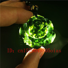 Certified Chinese Natural Black Green Jade Rose Pendant Necklace Obsidian Charm Jewellery Accessories Carved Amulet Gifts