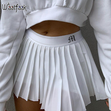 Waatfaak White Pleated Skirt Short Woman Elastic Waist Mini Skirts Sexy Mircro Summer Embroidery Mini Tennis Skirt New Preppy cheap Polyester Spandex CN(Origin) Ages 18-35 Years Old NONE WOMEN WAD1647W0D empire Letter Casual Above Knee Mini White Skirt