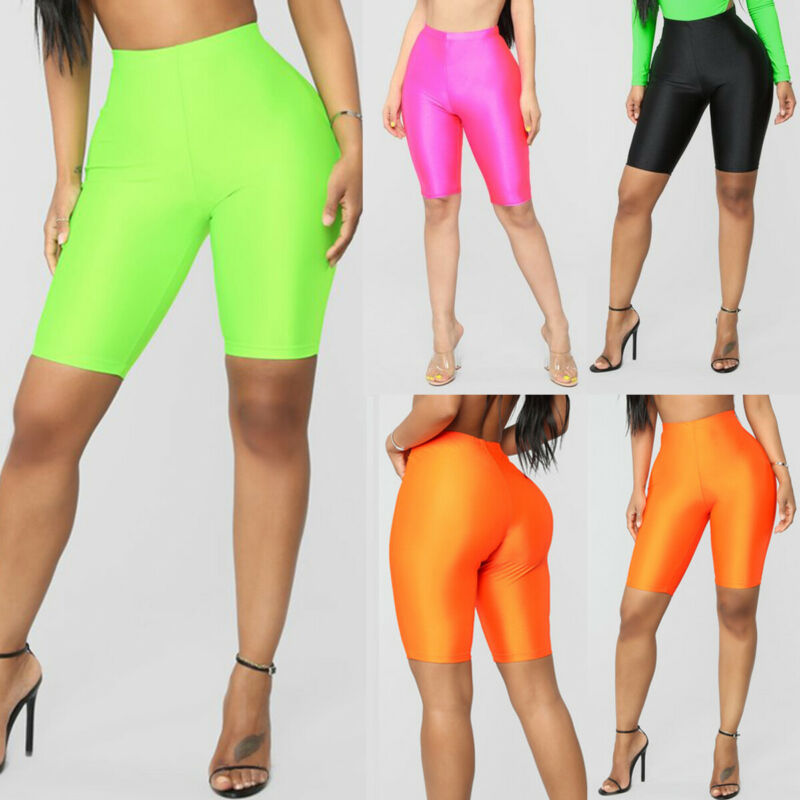 High Waist Sports Shorts Women Biker Shorts Summer Skinny Fitness Solid Bodycon Cycling Bottoms 2