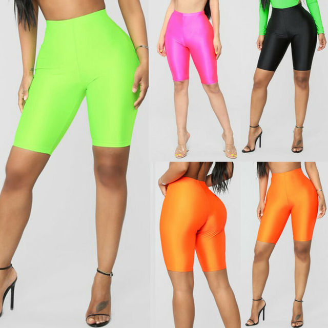 High Waist Sports Shorts Women Biker Shorts Summer Skinny Fitness Solid Bodycon Cycling Bottoms 2