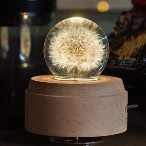 Image 1 - Caixa de música de madeira luminosa, caixa de música bluetooth com rotação, bola de cristal, música, lua com projetor, luz para aniversário, natal e ano novo, presente