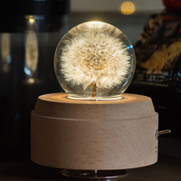Luminous Wooden Music Box Rotating Crystal Ball Music Box Moon With Projector Light For Birthday Christmas New Year Gift