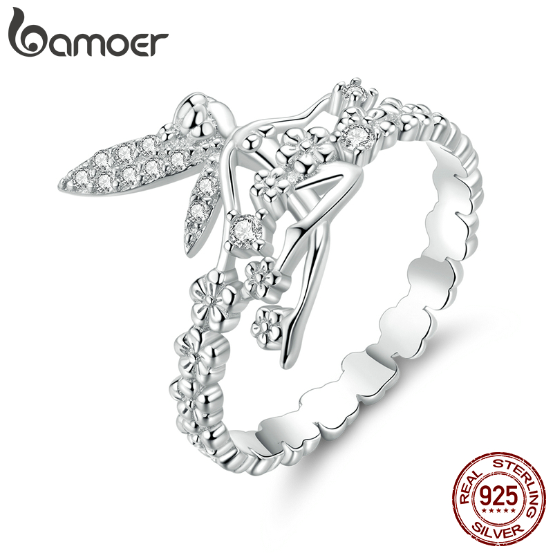 Bamoer Flower Elf Finger Rings For Women Authentic 925 Sterling Silver CZ Wedding Statement Jewelry Accessories Bague BSR104
