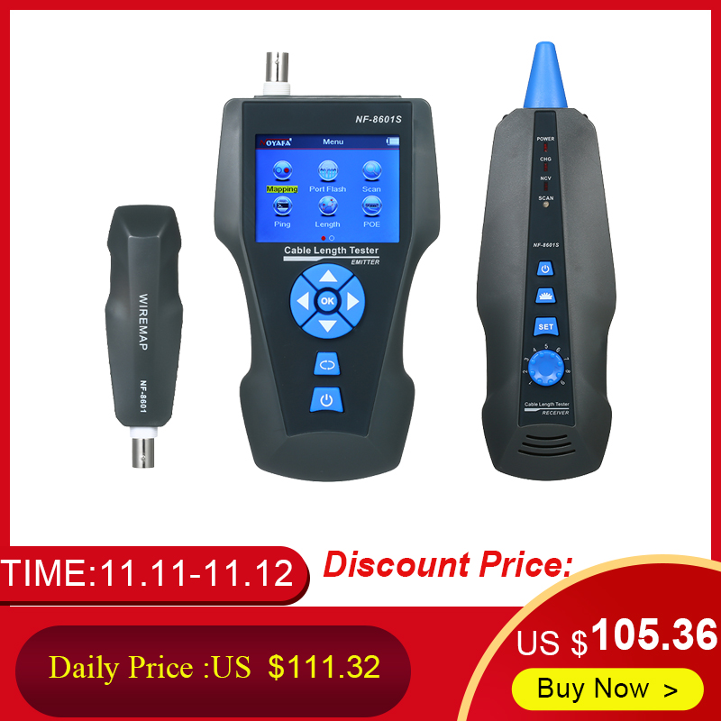 NF-8601S Multi-functional Network Cable Tester LCD Cable Length Meter Breakpoint Tester RJ45 Telephone Line Checker