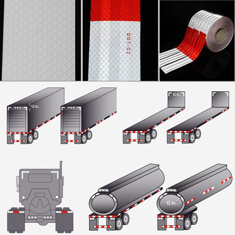 DOT-C2 Conspicuity Safety Reflective Tape Red White For Trailer Vehicle Truck, Trailer Reflector, Reflector Tape Roll
