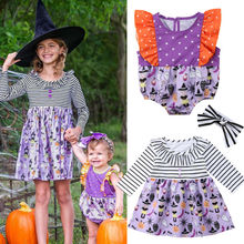 Halloween Sister Matching Ghost Print Dresses