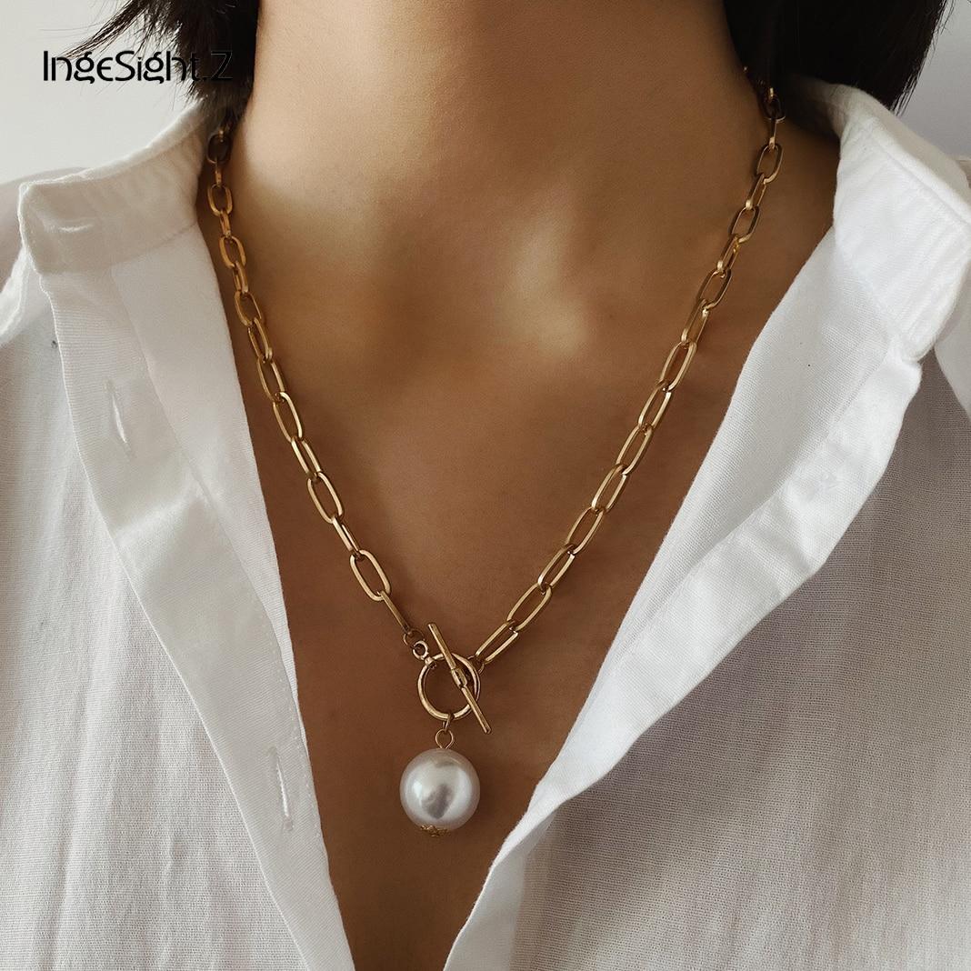 IngeSight.Z панк имитация жемчужная подвеска в стиле барокко ожерелье Снаряженная кубинская толстая цепочка застежка Длинные ожерелья для женщин ювелирные изделия|Цепочки|   | АлиЭкспресс - Жемчуг