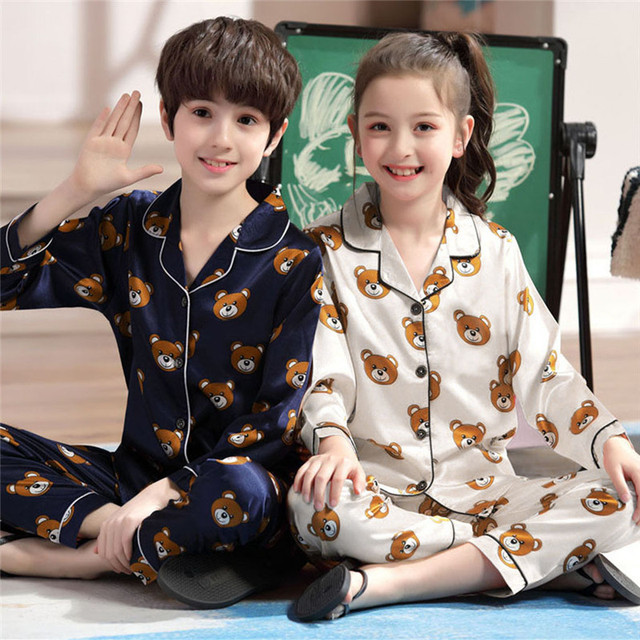 Детские пижамы, одежда для сна для мальчиков, одежда для сна для маленьких девочек, пижамные комплекты с рисунком медведя, детские пижамы
