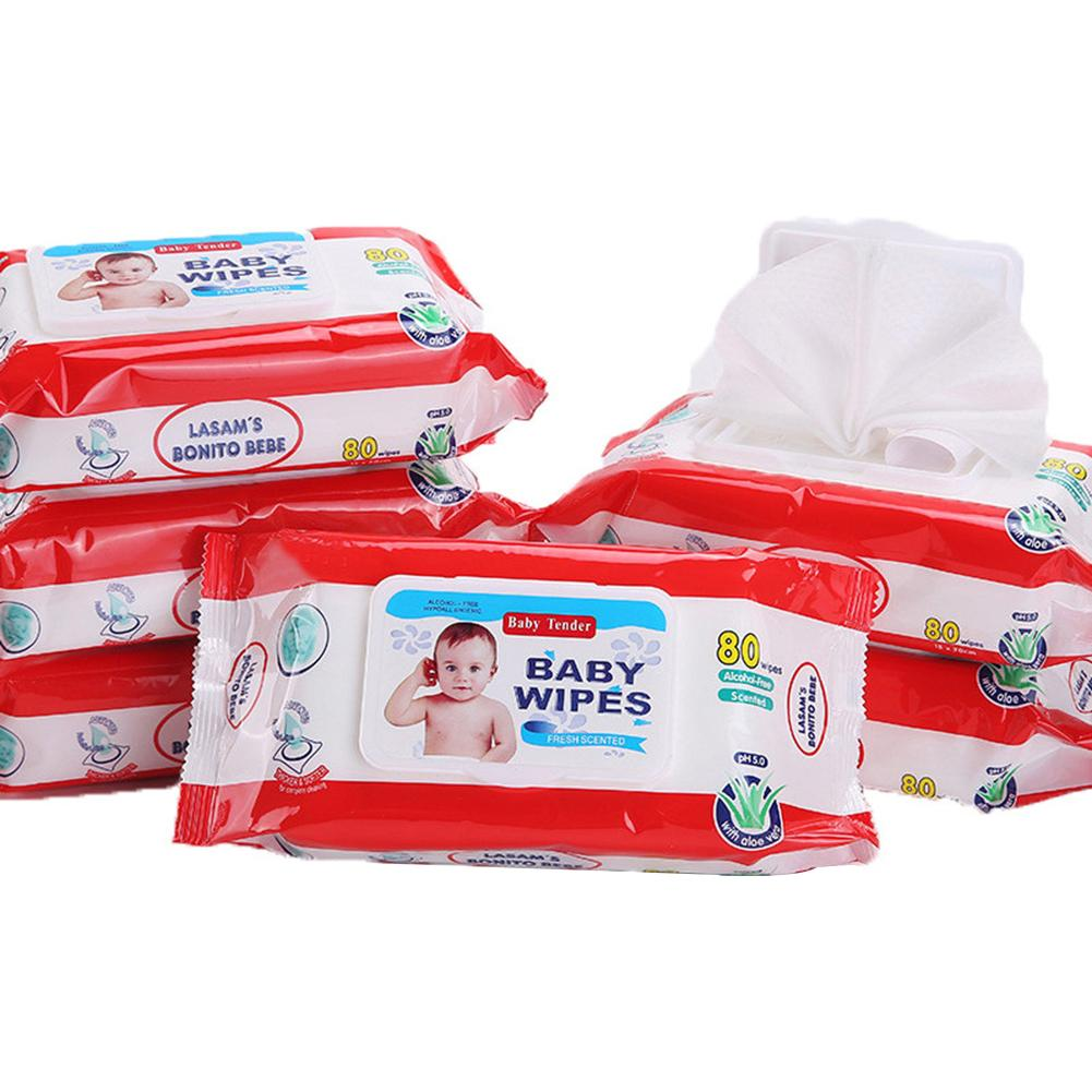 80Pcs/Bag Portable Skin Friendly Infant Baby Unscented Wet Wipes With Lid Tissue Hand Sanitizing Paper Towels