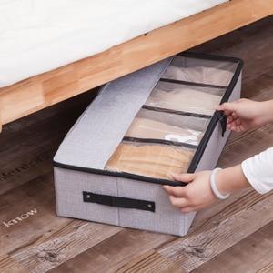 Cotton Linen Under Bed Storage Box Folding Clothes Organizer for Shoe Underwear Sundries Storage Bag Space saving Organizer
