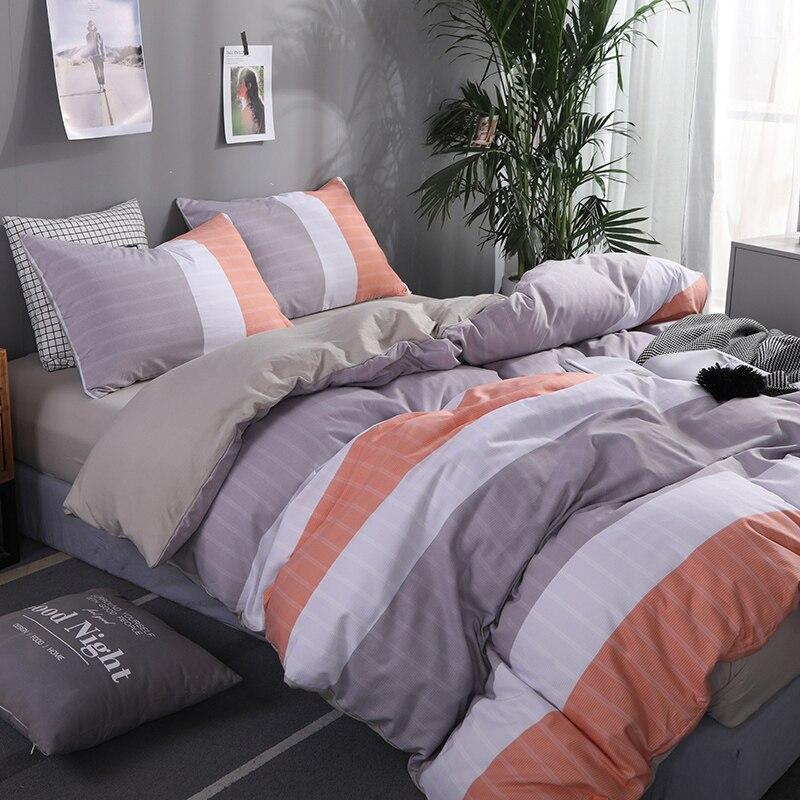 Liv Esthete Fashion Color Striped Bedding Set Soft Printed Duvet Cover Pillowcase Queen King Bed Linen Bedspread Flat Sheet in Bedding Sets from Home Garden