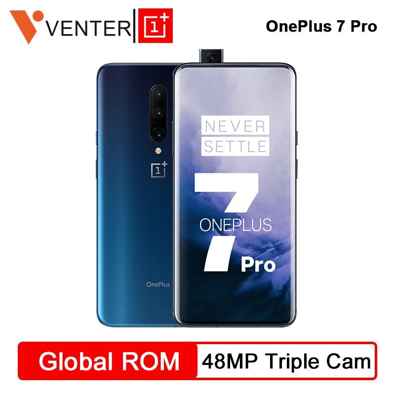 Estoque Global Rom Câmeras 48MP 7 Pro Smartphones OnePlus Snapdragon 855 AMOLED Octa Core 6.67 Polegada 2K + Fluido tela de Desbloqueio UFS 3.0