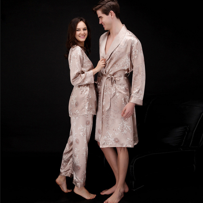 2019 Men Dragon Silk Bathrobes Couple  Nightgown Male Casual Home Wear Long Robe Sleep Wear Plus Size Comfortable Pajamas Sets