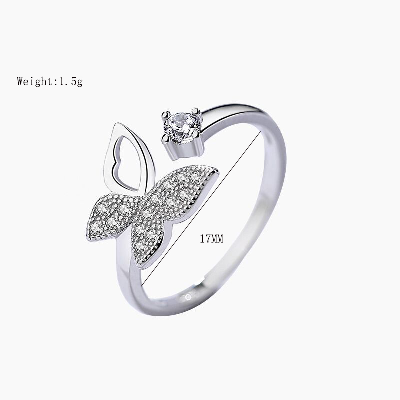 XIYANIKE 925 Sterling Silver Jewelry Sets for Women Wedding Couple Trendy Cute Butterfly Crystal Party Accessories Gift NE+EA+RI