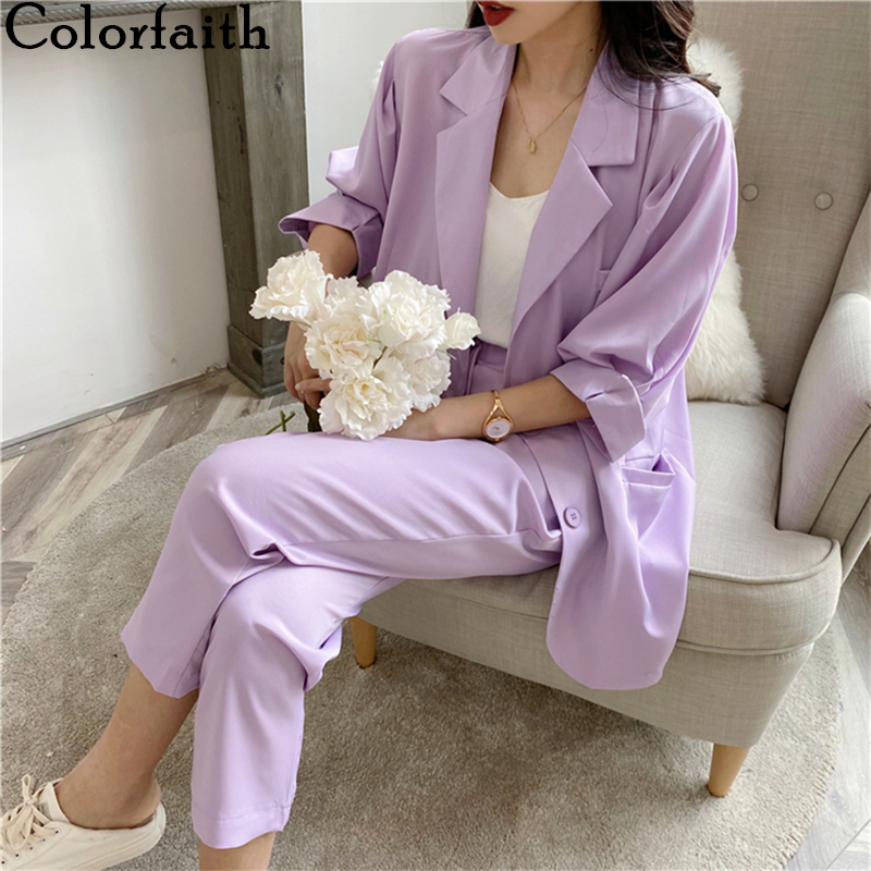 Colorfaith 2020 New Summer Women Sets 2 Piece Matching Pants 4 Colors Casual High Elastic Waist Half Lantern Sleeve Suit WS9090