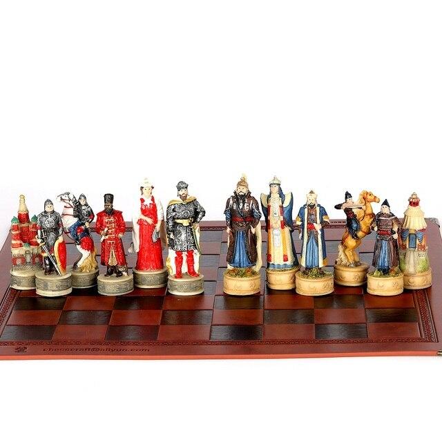 Jeu d'échecs avec personnages en en résine thème de guerre russe mongolie (guerre de la principauté de Ross) 6