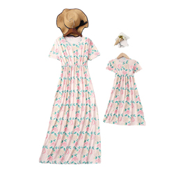 Adult Mom Baby Girls Dresses for Family Matching Clothing Mother Daughter Long Floral Cotton Dress