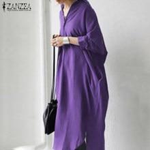 ZANZEA-chaquetas largas informales con botones para otoño, camisa elegante con botones para mujer, de talla grande, 2021