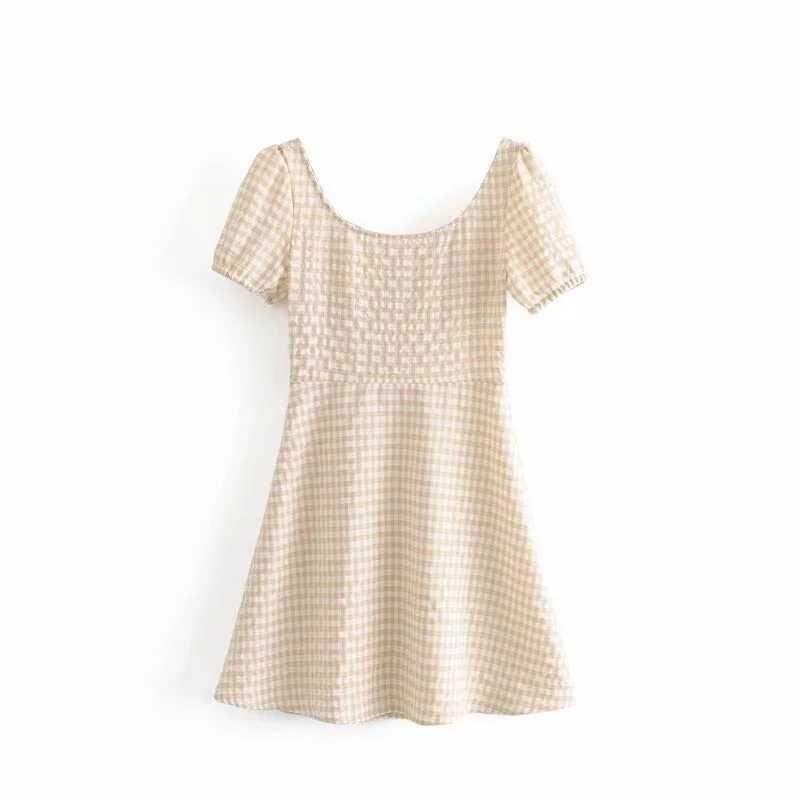 2019 Boho шикарное сексуальное мини-платье с бантом женское летнее платье корейское модное Повседневное платье на пуговицах с пышными рукавами элегантное клетчатое платье vestidos