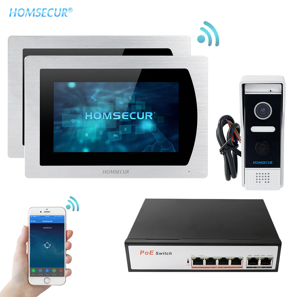 HOMSECUR 7'' Touch Screen WIFI IP Video Door Phone Video Intercom Doorbell Apartment Motion Detection Android/iOS POE Switch