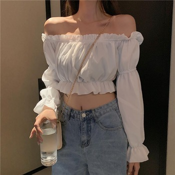 Women Top Sexy Blouse Off Shoulder Top Long Sleeve Solid Color White Shirt Puff Sleeve Ruffle Tunic Crop Top Summer Tube Top 1