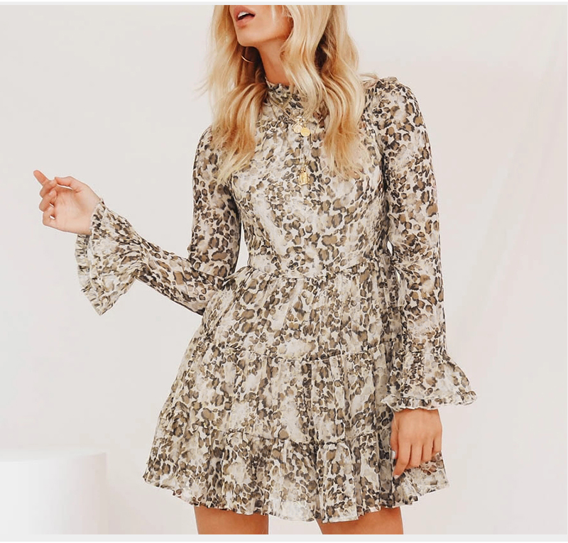 DICLOUD Leopard Print Turtleneck Chiffon Dress for Women 19 Autumn Winter Long Sleeve Mini Party Dress Sexy Clothing Female 5