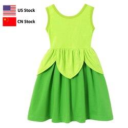 Meninas sininho sino vestido crianças princesa festa fantasiar-se trajes contos de fadas folha verde roupas crianças verão cosplay frock