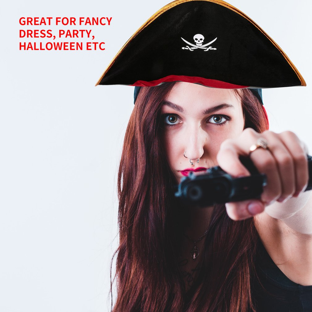 Kids Pirate Captain Hat Skull & Crossbone Design Cap Costume For Fancy Dress Party Halloween Polyester Sales Dropshipping Gift