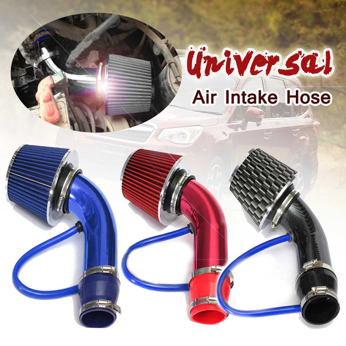 """3"""" 76mm Universal Automobile Car Racing Cold Air Intake System Turbo Induction Pipe Tube With Cone Air Filter Inlet"""
