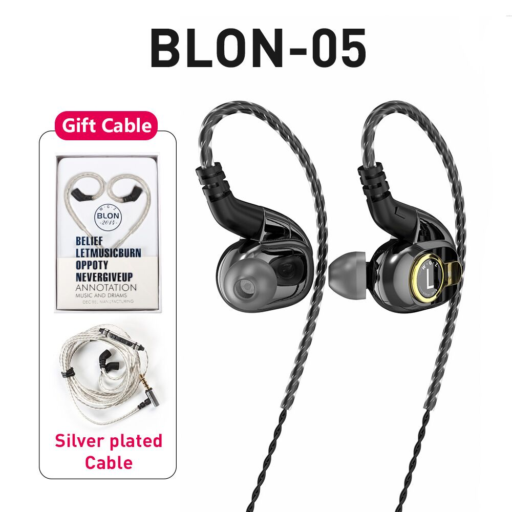 AK Blon BL-05 BL05 With 2nd Generation 10mm Carbon Nanotube Diaphragm High Dynamic HIFI Earphone With 3.5mm Gold Plated L Plug