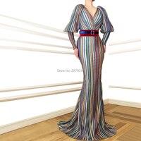 2019 Junoesque New Arrival V Neck Evening Dress Mermaid Full Sleeves Floor Length Sash Celebrity Dress Prom Dress Haute Couture