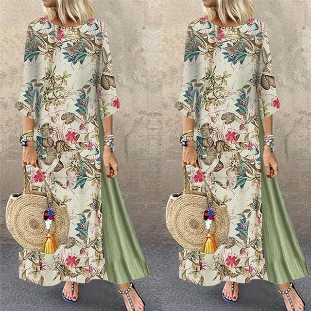 Womens Maxi Beach Dress 2019 Summer Half Sleeve Casual Boho Kaftan Tunic Gypsy Ethnic Style Floral Print Plus Size Dresses S-5XL 1