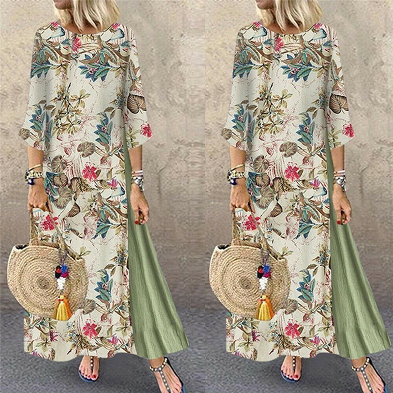 Womens Maxi Beach <font><b>Dress</b></font> 2019 Summer Half Sleeve Casual Boho Kaftan Tunic Gypsy Ethnic Style Floral Print Plus Size <font><b>Dresses</b></font> S-<font><b>5XL</b></font> image
