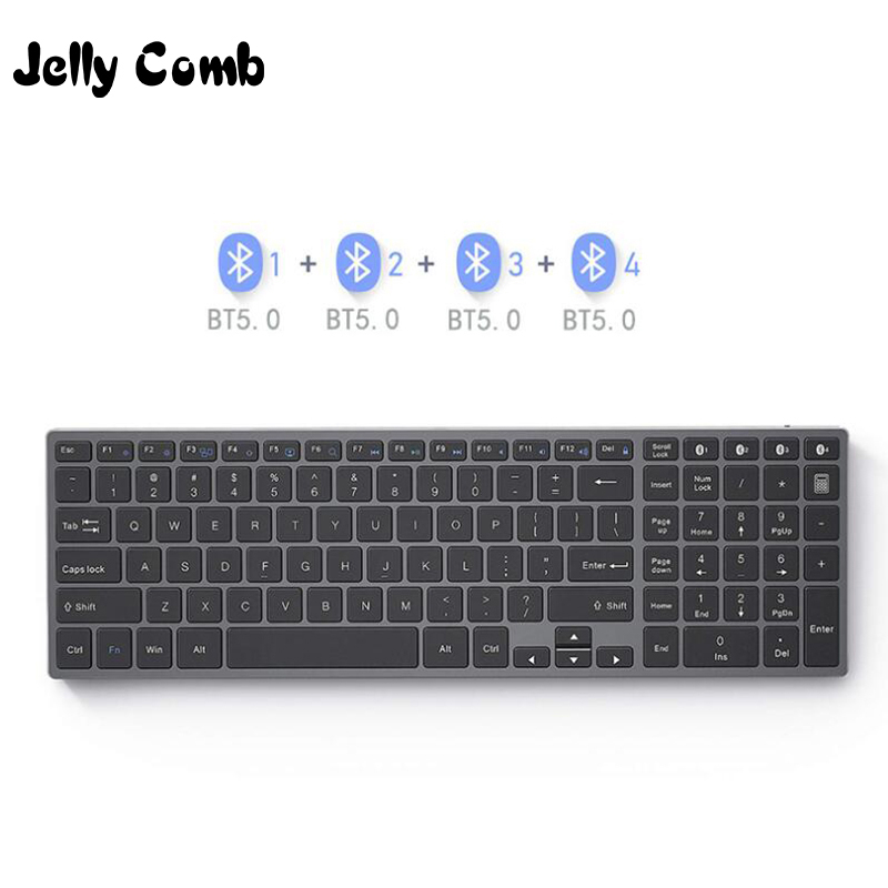 Jelly Comb Rechargeable Bluetooth Keyboard For Tablet Laptop Russian/French/German /English 4Device Sync Wireless Keyboard Metal