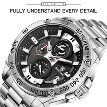 BENYAR Quartz Mens Watches Top Brand Luxury Watch Man Steel Waterproof Sport Mens Wristwatch Chronograph Relogio Masculino 2019