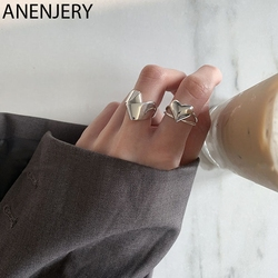 ANENJERY 925 Sterling Silver Fashion Retro Irregular Folding Love Heart Ring for Women's Party Banquet Jewelry S-R845