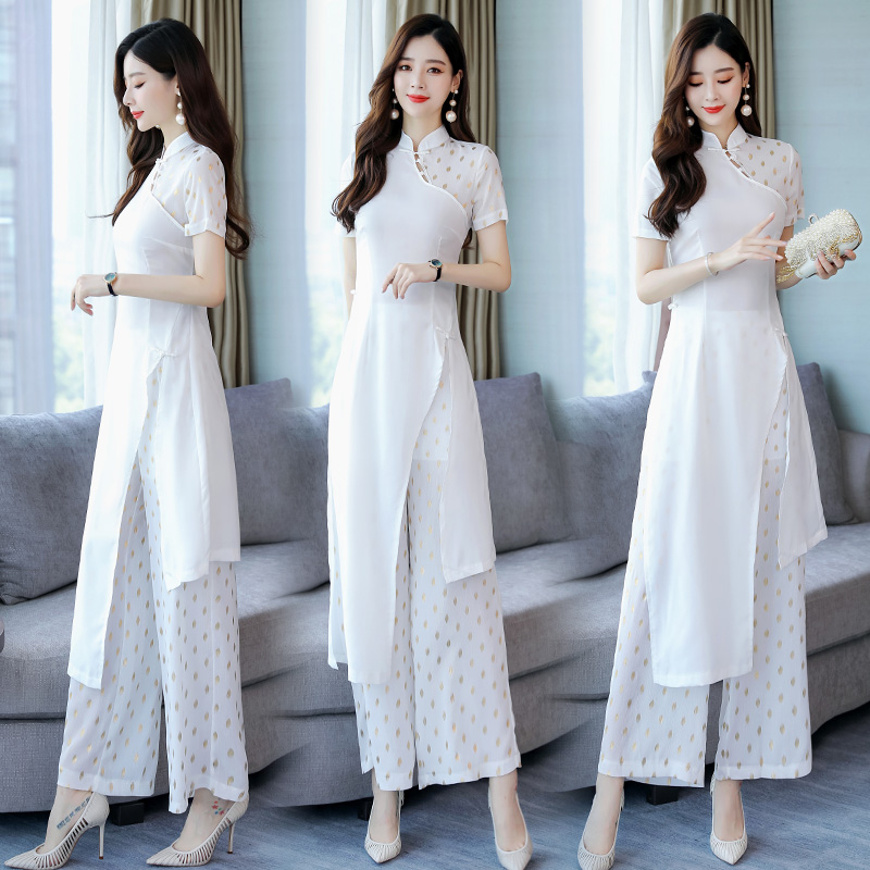 2019 Traditional Vietnam Chiffon Ao Dai Dress For Women Improved Cheongsam Ethnic Style Traditional Clothing Floral Aodai