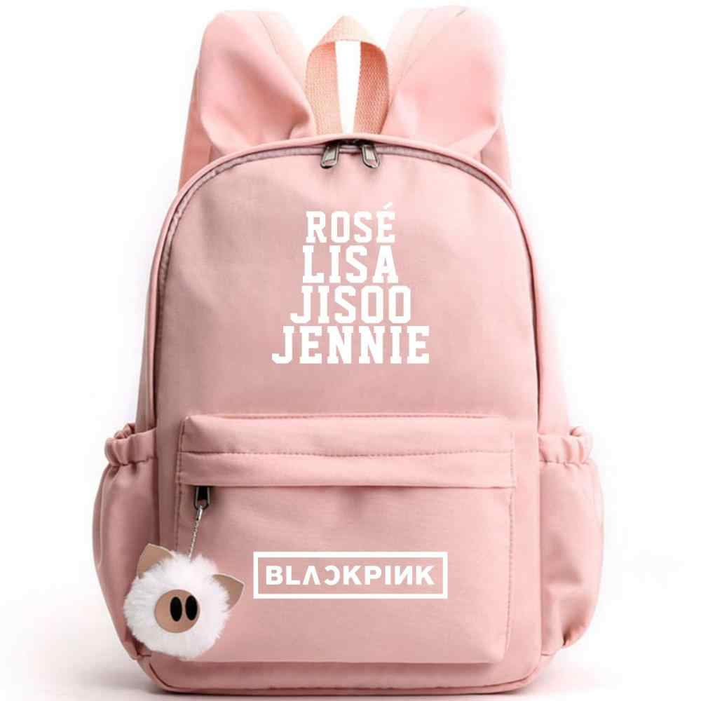 Kpop 韓国 Blackpink リサ女性かわいいバックパックバニー耳小バックパックピンクランドセル豚ぬいぐるみ旅行 Bagpack ナイロンスクールバッグ