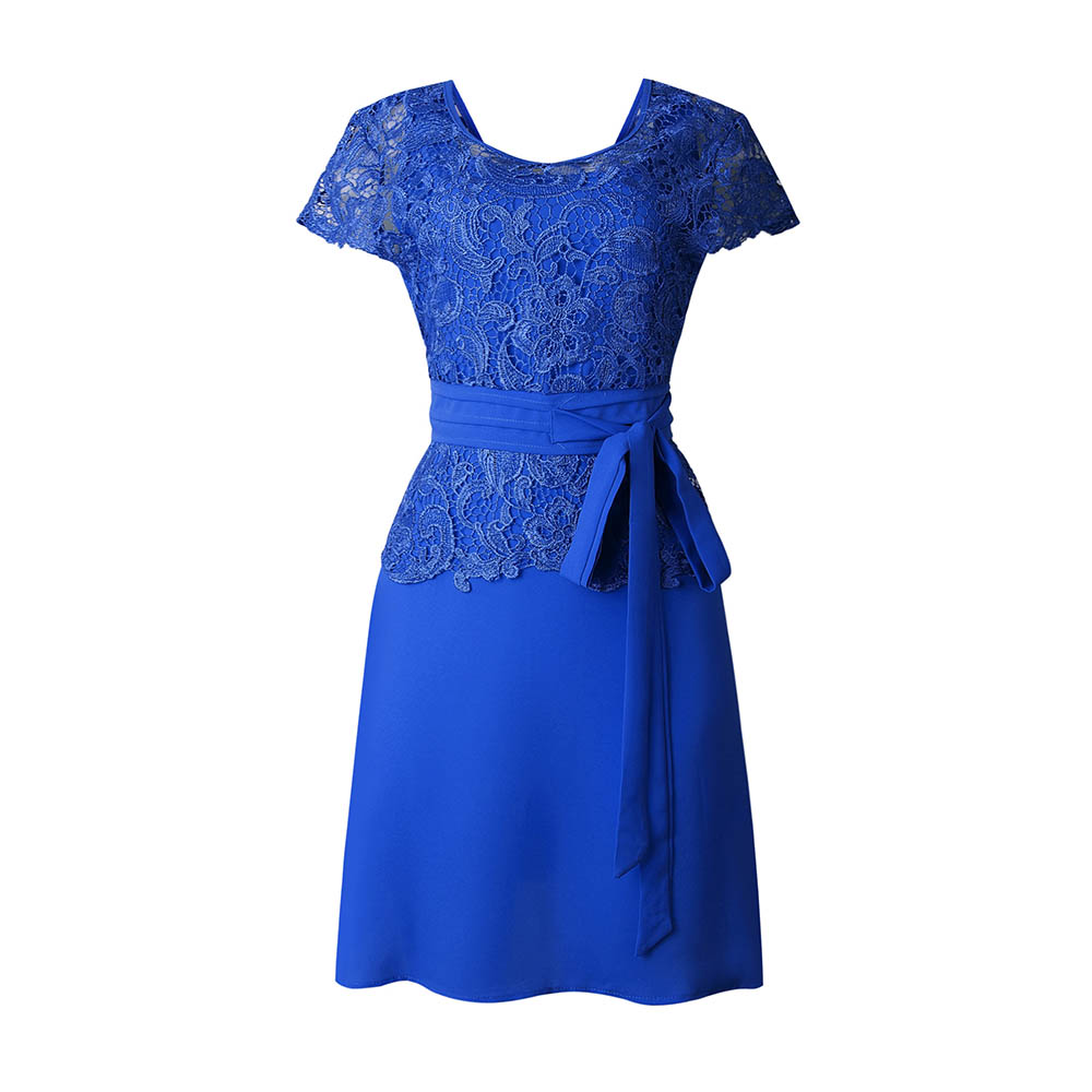 Short Sleeve Blue Lace Pacthwork Elegant Dress For Women 2xl Plus Size Summer Dress Evening Party Work Wear Office Midi Dresses