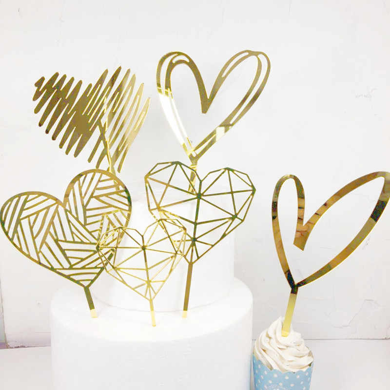 1PCS Gold Acrylic Heart Collection Cake Topper Dessert Decoration For Birthday Lovely Gifts Insert Party Decor Party Supplies