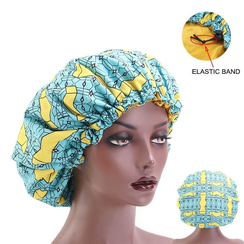 Hair Styling Caps 33cm Adjust Large Sleep Print Fabric Hair Bonnet Satin Lined Sleep Cap Night Hat Ladies Hair Styling Tool